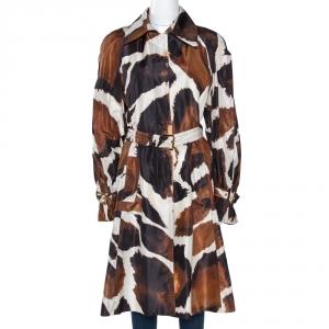 Roberto Cavalli Brown Printed Silk Pleat Detail Belted Coat M