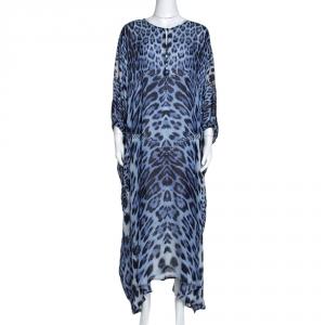 Roberto Cavalli Blue Animal Print Silk Kaftan Dress M