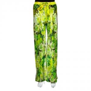 Roberto Cavalli Green Floral Printed Silk Pants L