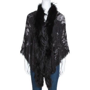 Roberto Cavalli Black Printed Cashmere Fur Lined Poncho (One Size)