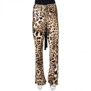 Roberto Cavalli Beige Leopard Print Silk Satin Flared Pants M