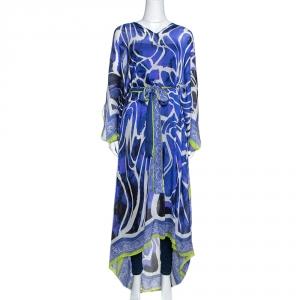 Roberto Cavalli Purple Printed Silk Belted Maxi Kaftan M