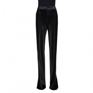Roberto Cavalli Black Satin Flared Pants L