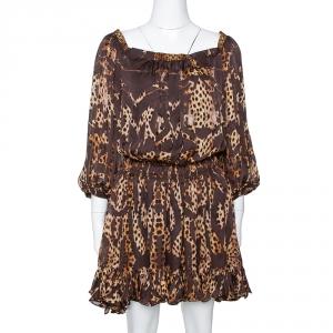 Roberto Cavalli Brown Animal Print Silk Ruffled Dress L - used