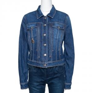 Roberto Cavalli Blue Denim Heart Pendant Detail Jacket L