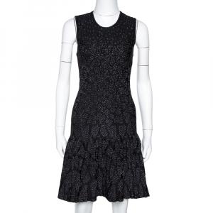Roberto Cavalli Black Lurex Jacquard Knit Fit & Flare Dress S - used