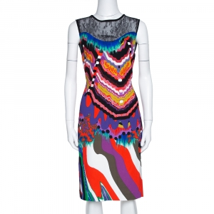 Roberto Cavalli Multicolor Abstract Printed Stretch Crepe Lace Panel Shift Dress M - used