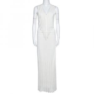 Roberto Cavalli Off White Knit Fringed Sleeveless Maxi Dress M - used