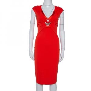 Roberto Cavalli Red Stretch Jersey Brooch Detail Midi Dress S - used