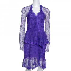 Roberto Cavalli Purple Lace Ruffled Peplum Dress M - used