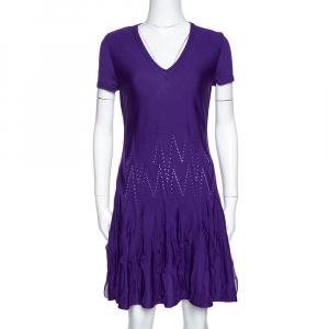 Roberto Cavalli Purple Textured Wool Knit Fit & Flare Dress M - used