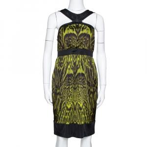 Roberto Cavalli Green Animal Print Jersey Halter Neck Dress M - used