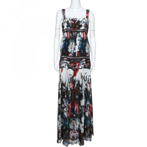 Roberto Cavalli Multicolor Floral Printed Silk Chain Embellished Pleated Maxi Dress M - used
