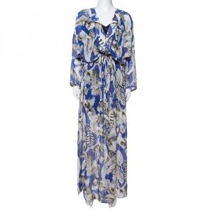 Roberto Cavalli Blue Feather Print Silk Maxi Kaftan M - used