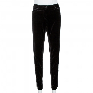 Roberto Cavalli Black Velvet Knit Paneled Tapered Trousers L
