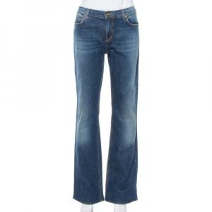 Roberto Cavalli Blue Denim Flock Pocket Straight Leg Jeans L