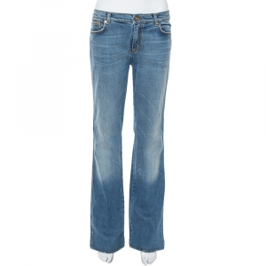 Roberto Cavalli Blue Faded Effect Denim Straight Leg Jeans L