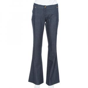 Roberto Cavalli Dark Blue Stretch Denim Flared Pants L