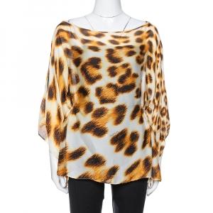 Roberto Cavalli Cream Animal Print Silk Sheer Kaftan Blouse L