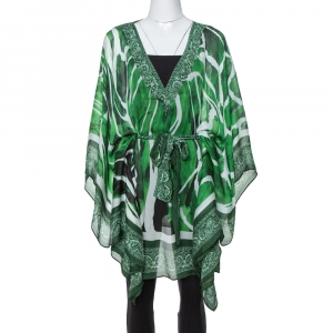Roberto Cavalli Green Paisley Print Silk Belted Kaftan Top M