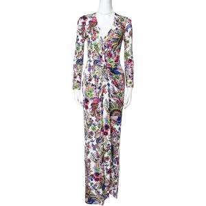 Roberto Cavalli Multicolor Floral Print Crepe Gathered Maxi Dress S - used