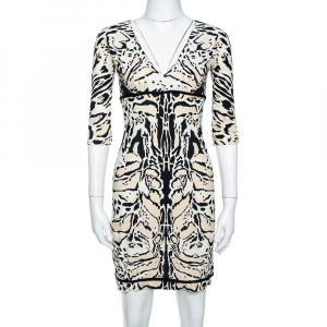 Roberto Cavalli Tri Color Nylon Jersey V-Neck Dress M