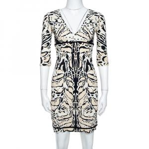 Roberto Cavalli Tri Color Nylon Jersey V-Neck Dress M - used