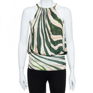 Roberto Cavalli Green Stripe Silk Blend Serpentine Detail Halter Top M