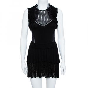 Roberto Cavalli Black Lace Detail Ruffled Sleeveless Dress S