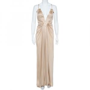Roberto Cavalli Champagne Cream Knit Plunge Neck Gown M