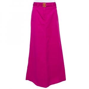 Roberto Cavalli Pink Denim Belted Flared Maxi Skirt M