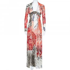 Roberto Cavalli Multicolor Floral and Animal Print Crepe Gathered Maxi Dress M