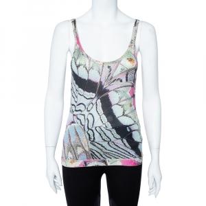 Roberto Cavalli Multicolor Print Silk Knitted Tank Top L