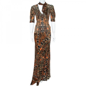 Roberto Cavalli  Multicolor Print Silk Top And Skirt Set M