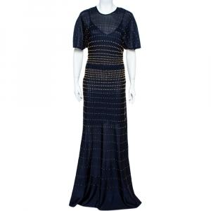 Roberto Cavalli Navy Blue Pointelle Knit Studded Maxi Dress M - used