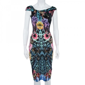 Roberto Cavalli Multicolor Print Midi Dress S - used