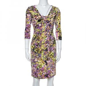 Roberto Cavalli Multicolor Printed Jersey Brooch Detail Dress M - used