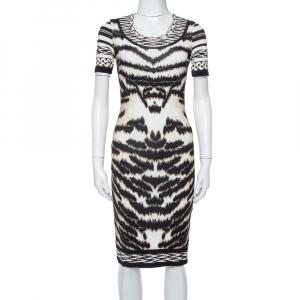 Roberto Cavalli Multicolor Knit Animal Printed Midi Dress S - used