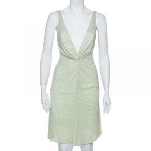 Roberto Cavalli Pastel Green Bead Embellished Silk Plunge Neck Mini Dress S used