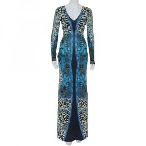 Roberto Cavalli Multicolor Printed Jersey V-Neck Long Dress S - used