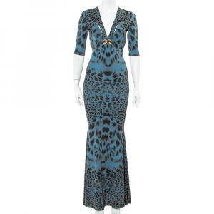 Roberto Cavalli Teal Blue Animal Printed Knit Plunge Neck Maxi Dress S used