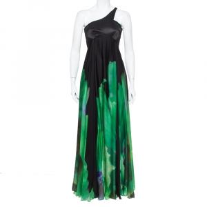Roberto Cavalli Black and Green Printed Silk One Shoulder Gown S - used