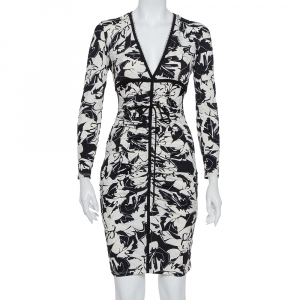 Roberto Cavalli Monochrome Printed Knit Ruched Plunge Neck Dress S - used