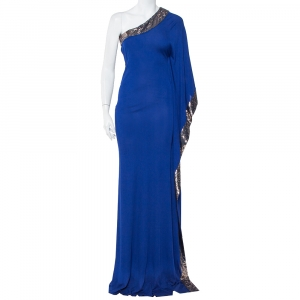Roberto Cavalli Royal Blue Knit Sequin Embellished Detail One Shoulder Maxi Dress S - used