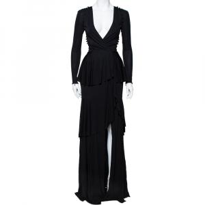 Roberto Cavalli Black Knit Ruffled Maxi Wrap Dress S - used