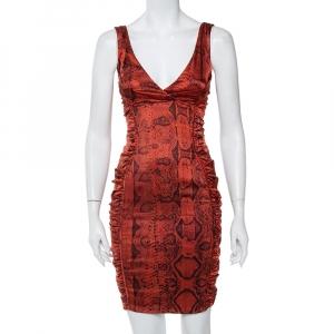 Roberto Cavalli Brown Animal Printed Satin Ruched Mini Dress S - used
