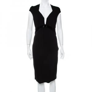 Roberto Cavalli Black Knit Embellished Waist Detail Plunge Neck Sheath Dress M - used