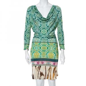 Roberto Cavalli Multicolor Printed Cowl Neck Long Sleeve Dress M - used