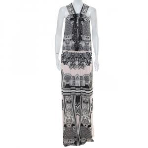 Roberto Cavalli Multicolor Printed Jersey Cutwork Neckline Detail Maxi Dress S - used
