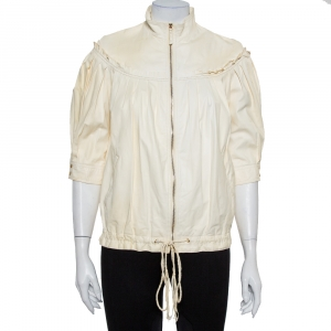 Roberto Cavalli Cream Leather Pleated Detail Zipper Front Jacket S